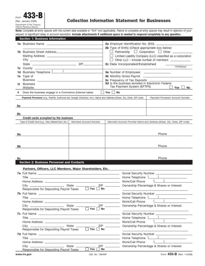 Steps forms to prepare an installment agreement tidytax form 433b falaconquin