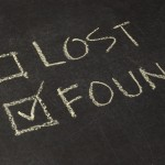 Board saying lost and found