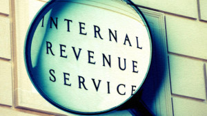 sign saying internal revenue service
